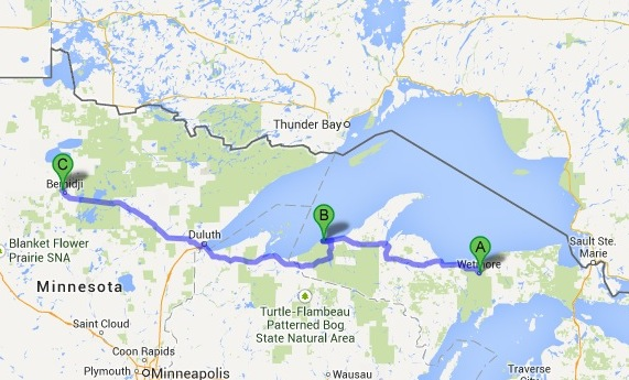 Map of my drive.  From Munising Michigan to Bemidji Minnesota